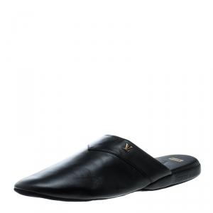 Louis Vuitton x Supreme Black Leather Hugh Flat Slippers Size 42