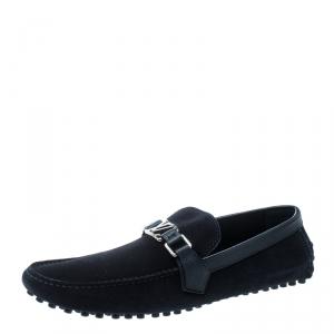 Louis Vuitton Blue Suede Hockenheim Loafers Size 43