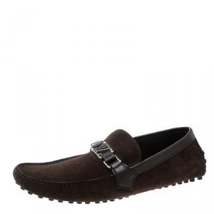 Louis Vuitton Brown Suede Hockenheim Loafers Size 44