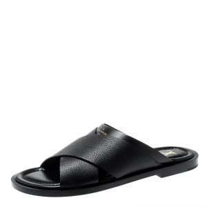 Louis Vuitton Black Leather Foch Cross Strap Flat Slides Size 42.5