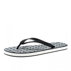 Louis Vuitton Monochrome Logo Print Rubber Molitor Thong Flip Flops Size 44