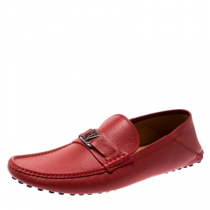 Louis Vuitton Red Grained Leather Hockenheim Loafers Size 43
