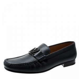 Louis Vuitton Dark Blue Leather Montaigne Loafers Size 43.5