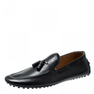 Louis Vuitton Black Leather Tassel Detail Loafers Size 42.5
