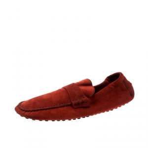 Louis Vuitton Orange Suede Loafers Size 45