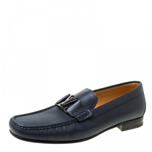 Louis Vuitton Oxford Blue Leather Monte Carlo Loafers Size 43