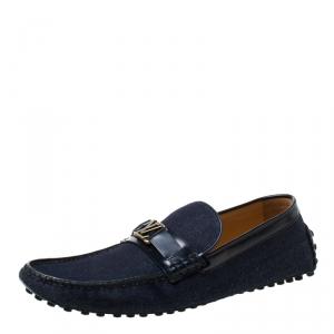 Louis Vuitton Indigo Dark Wash Denim Monte Carlo Loafers Size 43.5