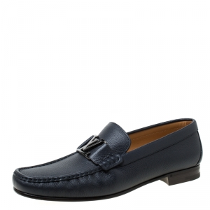 Louis Vuitton Dark Blue Leather Montaigne Loafers Size 43