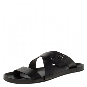 Louis Vuitton Black Leather Pioneer Cross Strap Flat Slides Size 45