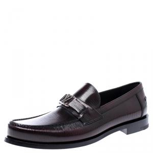 Louis Vuitton Black/Red Epi Leather Major Logo Detail Loafers Size 43