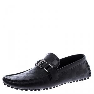 Louis Vuitton Black Graphite Leather Hockenheim Loafers Size 39.5
