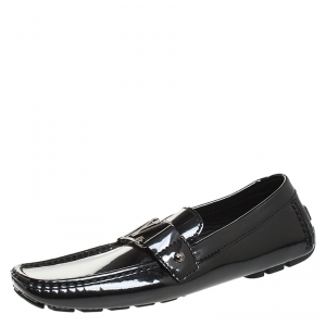 Louis Vuitton Black Patent Leather Monte Carlo Loafers Size 41.5