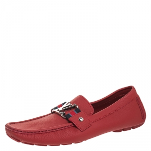 Louis Vuitton Red Leather Monte Carlo Loafers Size 41.5