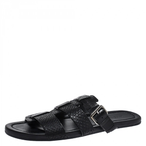 Louis Vuitton Black Python And Leather Slip On Flat Sandals Size 43