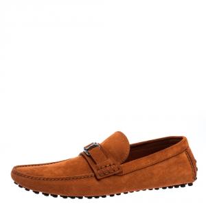 Louis Vuitton Orange Suede Hockenheim Loafers Size 43