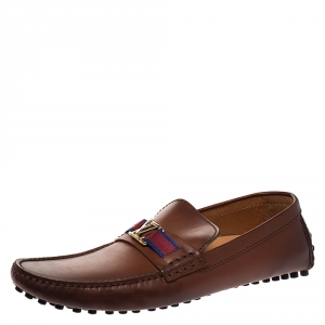 Louis Vuitton Brown Leather Hockenheim Moccasin Size 43