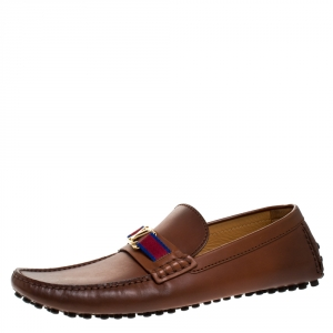 Louis Vuitton Brown Leather Hockenheim Loafers Size 43.5