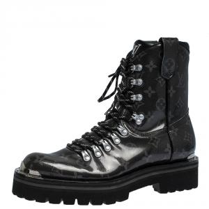 Louis Vuitton Grey/Black Monogram Patent Leather Lace Up Mid Calf Boots Size 41
