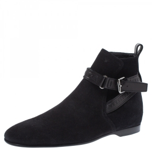 Louis Vuitton Black Suede and Leather Warren Ankle Boots Size 41