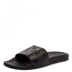 Louis Vuitton Black Rubber Monogram Waterfront Slide Sandals Size 42