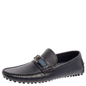 Louis Vuitton Blue Leather Hockenheim Loafers Size 41
