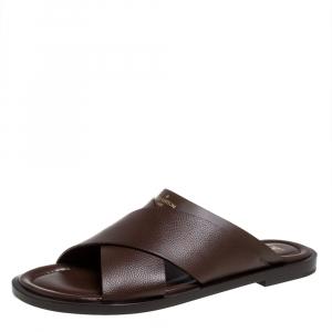 Louis Vuitton Brown Leather Foch Cross Strap Flat Slides Size 43.5