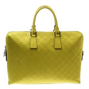 Louis Vuitton Vert Acide Damier Infini Leather Porte Documents Briefcase