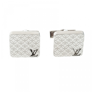 Louis Vuitton Champs Elysees Textured Silver Tone Cufflinks