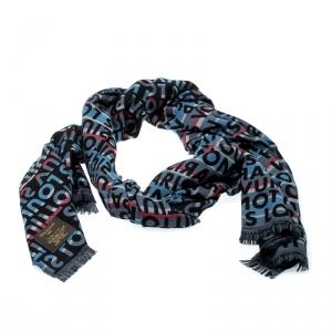 Louis Vuitton Multicolor Monogram Wool & Silk Tag Stripes Scarf