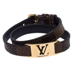 Louis Vuitton Gold Tone Sign It Damier Ebene Leather Bracelet