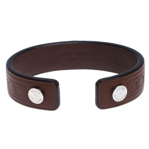 Louis Vuitton Brown Leather Open Cuff Bracelet 19