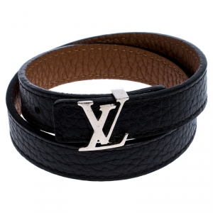 Louis Vuitton LV Initials Black/Brown Reversible Leather Double Wrap Bracelet