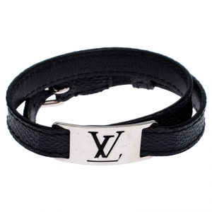Louis Vuitton Damier Graphite Silver Tone Sign It Bracelet