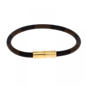 Louis Vuitton Keep It Damier Canvas Gold Tone Bracelet