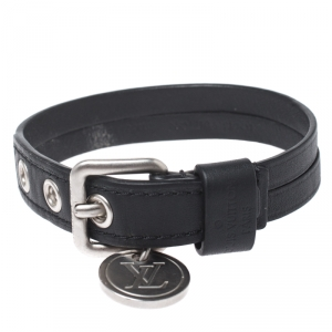 Louis Vuitton Black Leather In Step Bracelet 19 cm
