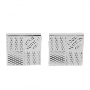 Louis Vuitton Damier Motif Silver Tone Cufflinks