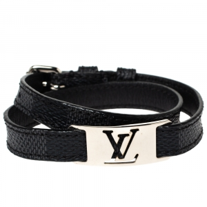 Louis Vuitton Damier Graphite Silver Tone Sign It Wrap Bracelet