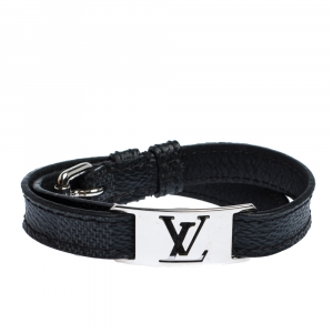 Louis Vuitton Sign It Damier Leather Silver Tone Double Wrap Bracelet