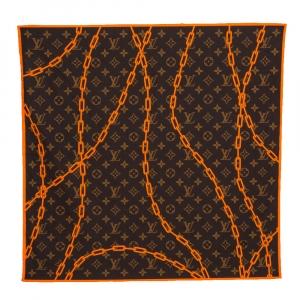 Louis Vuitton Brown & Orange Monogram Solar Ray Cotton Bandana