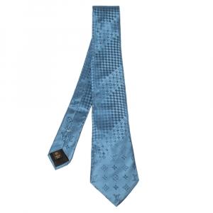Louis Vuitton Teal Blue Monogram and Check Jacquard Silk Tie