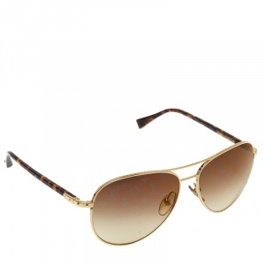 Louis Vuitton Brown/Gold Gradient Monogram Lenses Z0164U Aviator Sunglasses