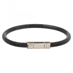 Louis Vuitton Black Damier Canvas Keep It Bracelet