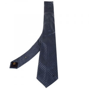 Louis Vuitton Grey Micro Damier Silk Tie