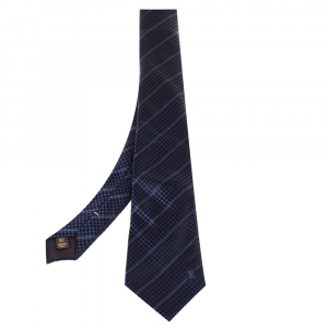 Louis Vuitton Navy Blue Micro Damier Striped Silk Tie