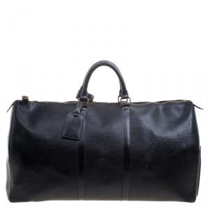 Louis Vuitton Black Epi Leather Keepall 55