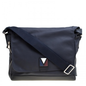 Louis Vuitton Black Leather V Line Messenger Bag