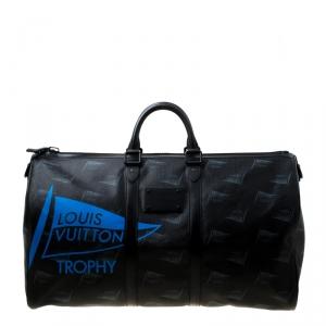 Louis Vuitton Black Coated Canvas Limited Edition 049/200 Dubai Keepall Bandouliere 55 Bag