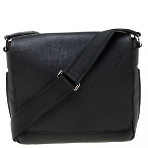 Louis Vuitton Black Epi Leather Flap Messenger Bag