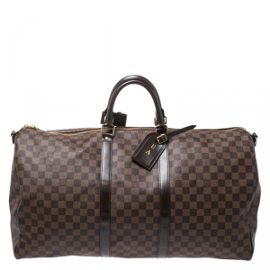 Louis Vuitton Damier Ebene Canvas Keepall Bandouliere 55