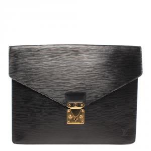 Louis Vuitton Noir Epi Leather Porte Documents Senateur Document Case